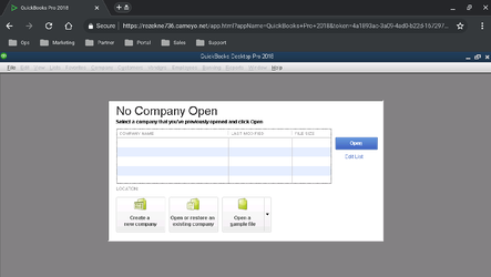 QuickBooks Pro running securely in the browser with Cameyo for QuickBooks. You will have the same experience with other QuickBooks Desktop products, including QuickBooks Premier and Enterprise.