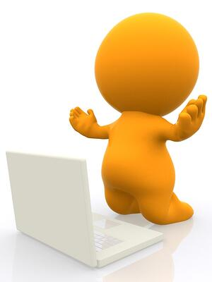 Happy 3D person working on a laptop with arms up - isolated