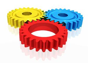 colourful cogwheels illustration isolated over a white background
