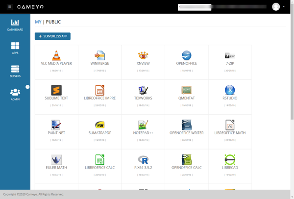 Screenshot of Cameyo's Digital Workspace platform